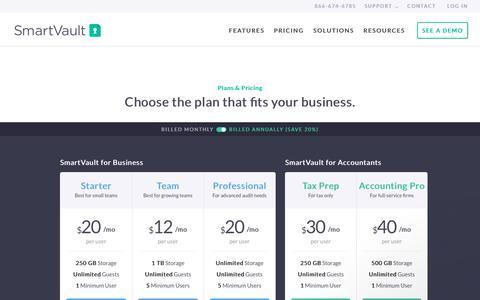 Screenshot of Pricing Page smartvault.com - Pricing & Plans » SmartVault - captured Sept. 4, 2018