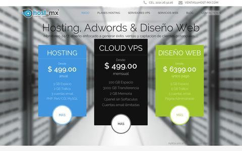 Screenshot of Home Page host-mx.com - Host-MX, hosting, dominios, campañas google adwords, servidores vps, diseño web. - captured Sept. 11, 2015