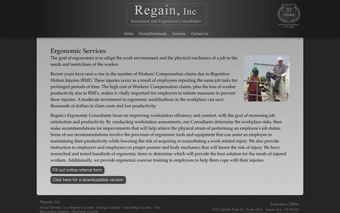 Screenshot of Services Page regain.net - Regain, Inc - Ergonomic Services - captured Oct. 26, 2014