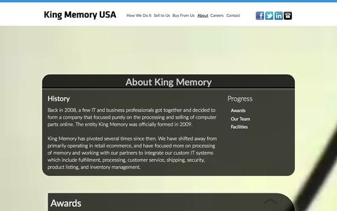 Screenshot of About Page kingmemoryusa.com - King Memory - About - captured Jan. 7, 2016