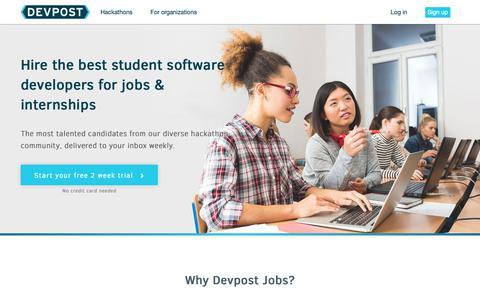 Screenshot of Pricing Page devpost.com - Devpost Jobs Hiring - captured Dec. 7, 2018