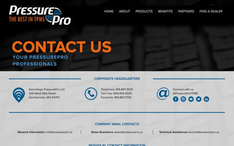 Screenshot of Contact Page Terms Page pressurepro.us - Pressure Pro - The Best in TPMS - captured July 10, 2018