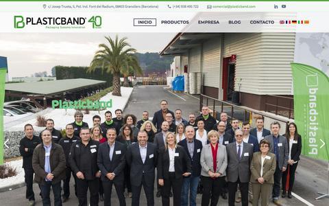 Screenshot of Home Page plasticband.com - Plasticband Fleje, Flejadoras, Envolvedoras, Bobinas de Film - captured July 19, 2018