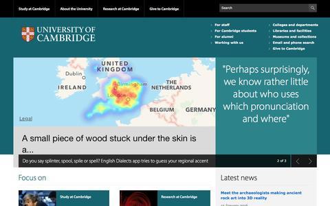 Screenshot of Home Page cam.ac.uk - University of Cambridge - captured Jan. 13, 2016