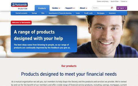 Screenshot of Products Page nationwide.co.uk - Products | Nationwide Building Society - captured Sept. 18, 2014