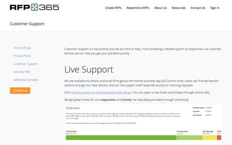 Screenshot of Support Page rfp365.com - RFP365 | Support - captured July 18, 2018