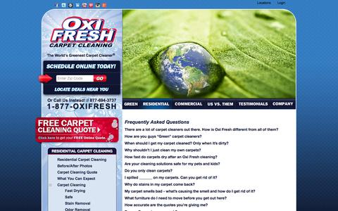 Screenshot of FAQ Page oxifresh.com - Carpet Cleaning Frequently Asked Questions | Oxi Fresh - captured Oct. 26, 2014