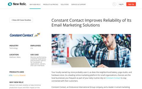 Screenshot of Case Studies Page newrelic.com - Constant Contact Improves Reliability of Its Email Marketing Solutions | New Relic Resource Center - captured March 11, 2018