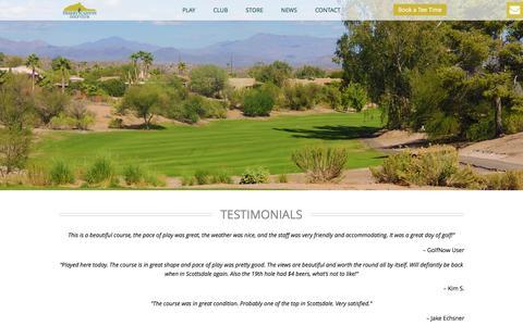 Screenshot of Testimonials Page desertcanyongolf.com - Testimonials - Desert Canyon Golf Club - captured Jan. 20, 2016