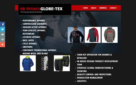 Screenshot of Services Page globe-tex.com - Services - captured Sept. 30, 2014