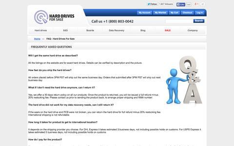 Screenshot of FAQ Page harddrivesforsale.com - FAQ - Hard Drives For Sale - captured Sept. 30, 2014
