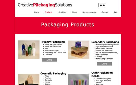 Screenshot of Products Page packaging-usa.com - Creative Packaging Solutions - Packaging - captured Nov. 13, 2016