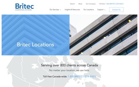 Screenshot of Locations Page britec.com - Locations - Britec Computer Systems - captured July 5, 2017