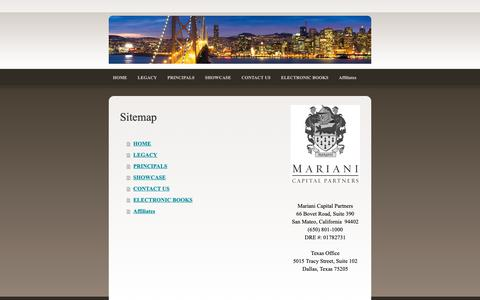 Screenshot of Site Map Page marianicp.com - Sitemap - Mariani Capital Partners - captured Oct. 2, 2018