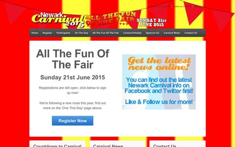 Screenshot of Home Page newarkcarnival.com - Newark Carnival | All The Fun Of The Fair | Sunday 21st June 2015 - captured Feb. 14, 2016
