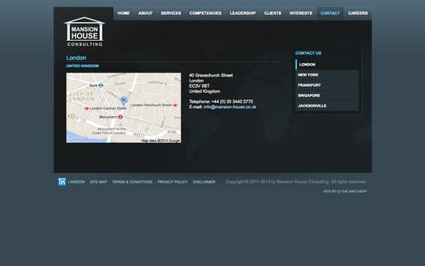 Screenshot of Contact Page mansion-house.co.uk - London | Mansion House Consulting - captured Oct. 4, 2014