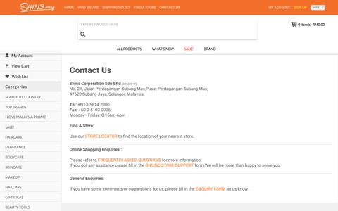 Screenshot of Privacy Page Contact Page shins.my - Contact Us - captured Oct. 24, 2018