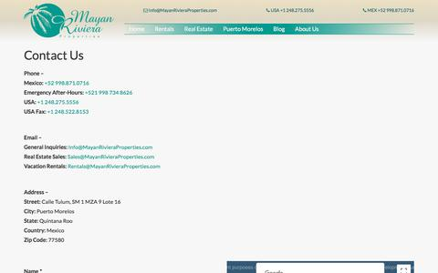 Screenshot of Contact Page mayanrivieraproperties.com - Contact Us - Mayan Riviera Properties Mayan Riviera Properties - captured Sept. 20, 2018