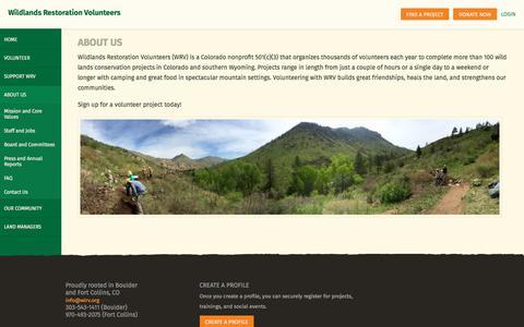 Screenshot of About Page wlrv.org - Wildlands Restoration Volunteers | Functions - captured Oct. 21, 2017