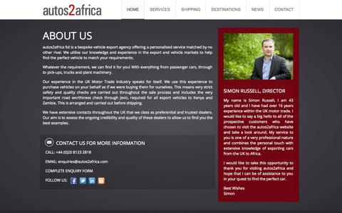 Screenshot of About Page autos2africa.com - About Us | autos2africa | Vehicle Export Sourcing Agency - captured Sept. 30, 2014