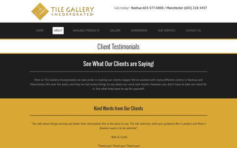 Screenshot of Testimonials Page tilegalleryusa.com - Tile Gallery Incorporated - Manchester, NH - Client Testimonials - captured July 6, 2017