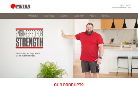 Screenshot of Home Page metrapanel.co.nz - Metra Construction Panels | Fast Home building in New Zealand - captured Oct. 17, 2018
