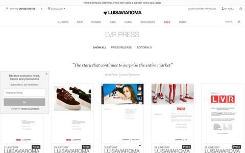 Screenshot of Press Page luisaviaroma.com - LVR Press - LUISAVIAROMA - captured Aug. 25, 2017