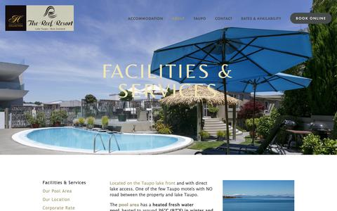 Screenshot of About Page reefresort.co.nz - Facilities & Services — The Reef Resort - Heritage Collection - Absolute Lake Edge Taupo - Offical Website - captured Oct. 31, 2018