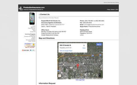 Screenshot of Hours Page productioninsurance.com - ProductionInsurance.com | Contact Us - captured Oct. 3, 2014