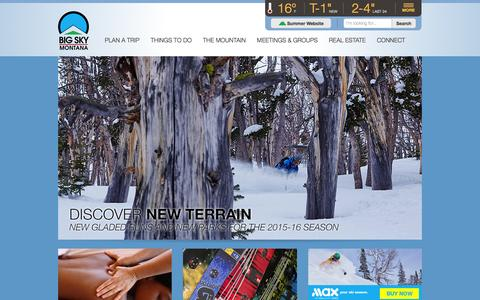 Screenshot of Home Page bigskyresort.com - Big Sky Resort, Montana | Biggest Skiing in America and Basecamp to Yellowstone - captured Jan. 15, 2016