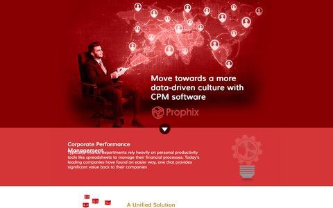 Screenshot of Landing Page prophix.com - Prophix Corporate Performance Management System - A Unified Solution - captured Feb. 22, 2016