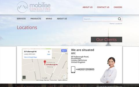 Screenshot of Locations Page mobiliseconsulting.com - Locations | Mobilise Consulting - captured Oct. 26, 2014
