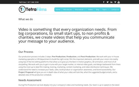 Screenshot of Services Page tetrafilms.ca - What we do - - captured Oct. 8, 2014