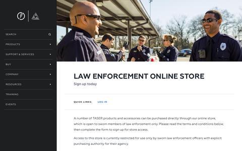 Screenshot of Signup Page taser.com - Online Store Sign Up - captured Nov. 28, 2016