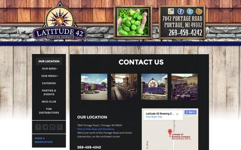 Screenshot of Contact Page latitude42brewingco.com - Latitude 42 Brewing Company |   Contact Us - captured July 19, 2015