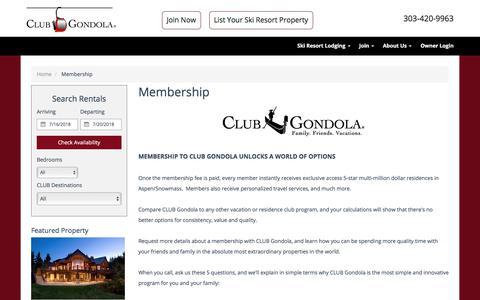 Screenshot of Signup Page clubgondola.com - CLUB Gondola | Private Vacation Club | Membership Information - captured July 14, 2018