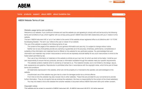 Screenshot of Terms Page abem.se - ABEM - Pioneers in geophysics since 1923 - terms of use - captured Oct. 4, 2014