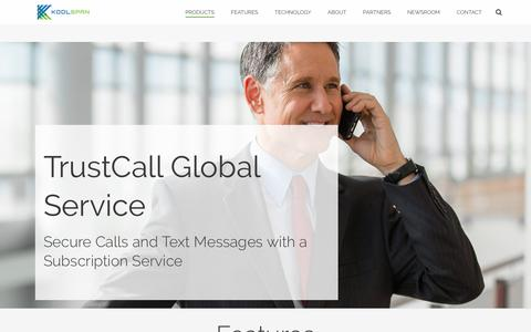 Screenshot of Products Page koolspan.com - TrustCall Global Service | Subscription Service - captured July 4, 2016