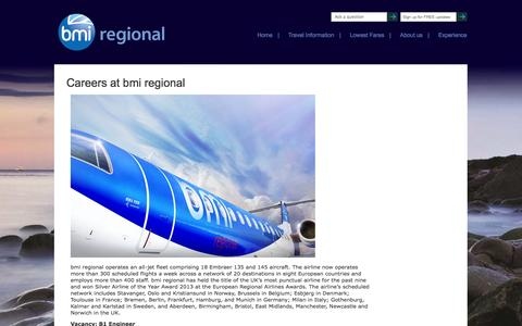 Screenshot of Jobs Page bmiregional.com - Work for bmi regional - captured Sept. 23, 2014