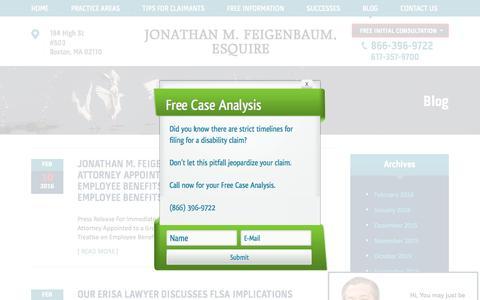 Screenshot of Blog erisaattorneys.com - Boston Denied Insurance Claims Lawyers | Blog - captured Feb. 11, 2016