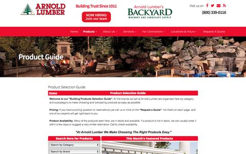 Screenshot of Products Page arnoldlumber.com - Product Guide - Arnold Lumber - captured Nov. 21, 2016