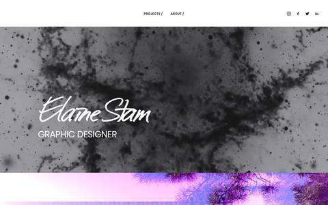 Screenshot of Home Page elainestam.com - ELAINE STAM // GRAPHIC DESIGNER - captured July 2, 2019