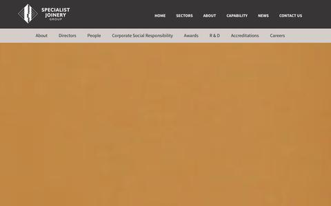Screenshot of About Page specialistjoinerygroup.co.uk - About | Specialist Joinery Group - captured Sept. 30, 2014