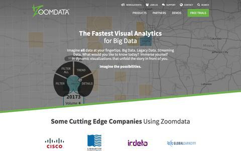 Screenshot of Home Page zoomdata.com - Big Data Analytics & Visualization   Zoomdata - captured Feb. 14, 2016