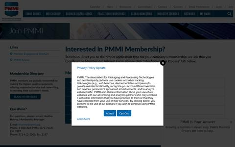 Screenshot of Signup Page pmmi.org - Join PMMI | PMMI - captured Sept. 19, 2018