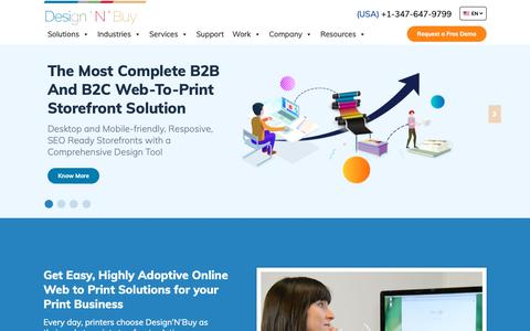 Screenshot of Home Page designnbuy.com - Web to Print solutions | Web-to-Print Ecommerce | Design'N'Buy - captured June 22, 2019