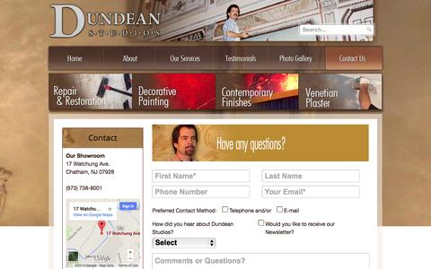 Screenshot of Contact Page dundeanstudios.com - Contact Us - To beautify our surroundings is a necessity, not an option. - captured Sept. 30, 2014