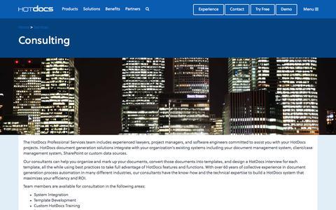 Screenshot of Services Page hotdocs.com - Consulting | HotDocs - captured July 14, 2017