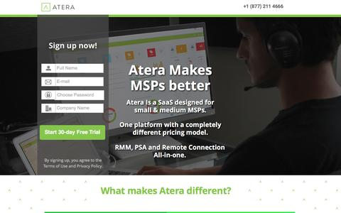 Screenshot of Landing Page atera.com - Atera - A Different kind of MSP sofware - captured June 21, 2016