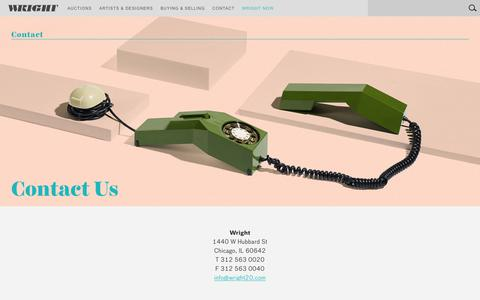 Screenshot of Contact Page wright20.com - Contact > Contact Us   Wright: Auctions of Art and Design - captured Sept. 23, 2018